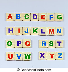 Letter - complete English alphabet - collage of 26 isolated...