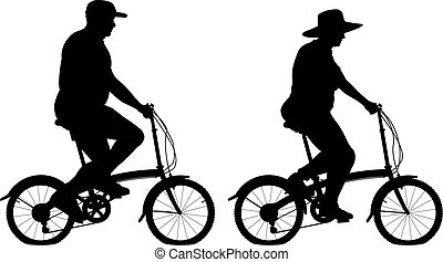Large cyclists - Editable vector silhouettes of an...