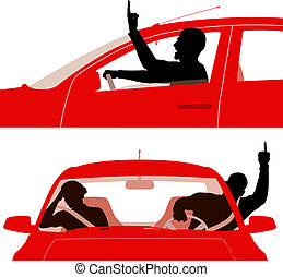 Road rage - Two editable vector illustrations of an angry...