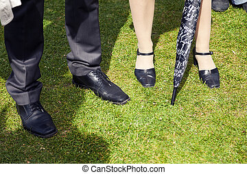 Elegant Legs on Grass - The legs of a businessman and a...