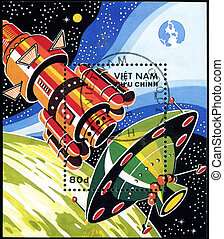 VIETNAM - CIRCA 1988: A stamp printed in Vietnam shows futuristic Spaceship, circa 1988
