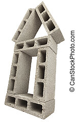 Isolated Construction Blocks - Home - Low & wide angle view...