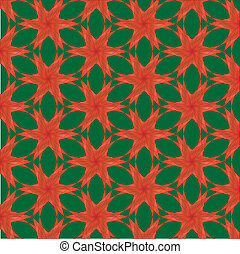 Christmas Flowers Pattern - A background illustration of red...