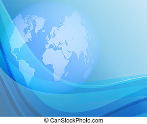 Blue background with globe 2 - Blue background with globe...