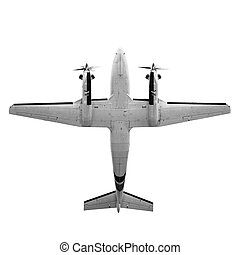 Twin prop cargo plane isolated on white background - Old...