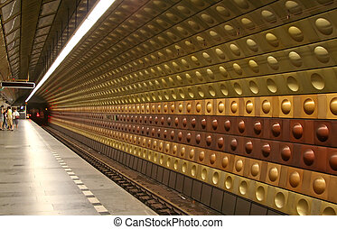 Underground Station - Underground station at Prague, Czech...