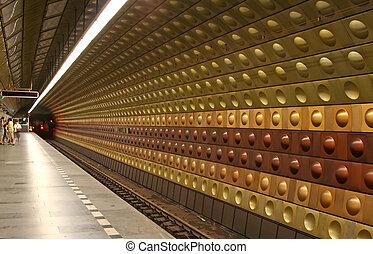 Underground Station - Underground station at Prague, Czech...