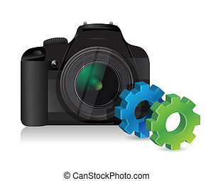 camera with industrial gears