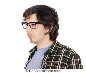 Worried Geekster - Side view of a caucasian male in his...