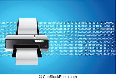 impresora, azul, gráfico