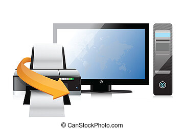 impresora, moderno, computadora