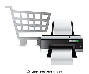 printer shopping concept illustration design over white