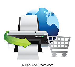 printer international shopping concept illustration design...