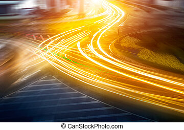the light trails on the steet in shanghai china