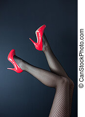 Shes got legs - A pair of shapely female legs in fishnet...