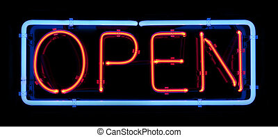 Red and Blue Neon Open Sign - Neon open sign islated on a...