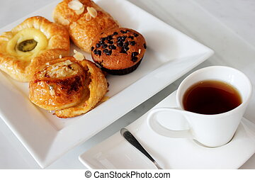 pastries for tea time served with tea