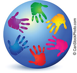 Hands on world logo vector - Hands colorful painted on world