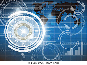 Abstract clock and technology background eps 10