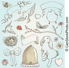 Hand Drawn Vintage Spring Elements - Pretty hand drawn...