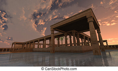 God Ra palace - 3D rendered illustration of monumental...