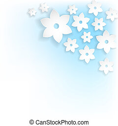abstract white flowers with shadows on blue