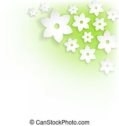abstract white flowers with shadows on green