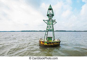 Sea buoy or marine boy - Floating rusty sea buoy - marine...