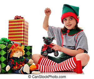 Sewing Christmas Elf - A girl dressed as a Christmas elf...