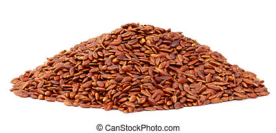 Flax or edible tisi seeds over white background