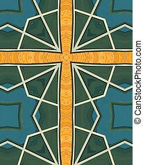 kaleidoscope cross:  wood and glass
