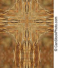 kaleidoscope cross:  brown grass