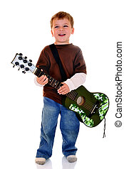 Budding Rock Star - Preschooler happily playing his toy...