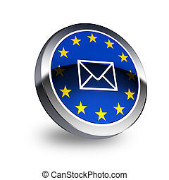 Letter on EU flag  on button