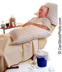 Sick Senior Man - A sick senior man resting in a recliner,...