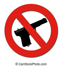 No Guns or Weapons sign - forbidden guns sign isolated on...