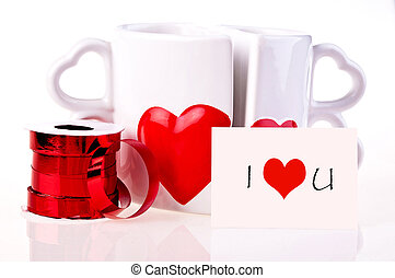 I love youCoffee mugs in shape of hear and ribbon