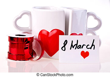 March 8 Coffee mugs in shape of hear
