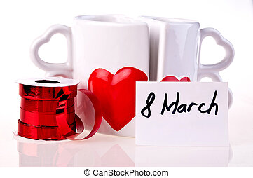 March 8 Coffee mugs in shape of hear whit hearts