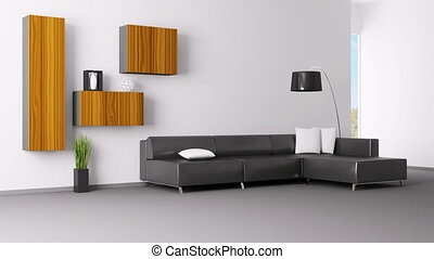 Animation of modern living room - Interior of living room...