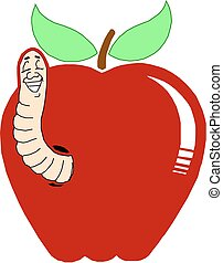 Worm In Red Apple