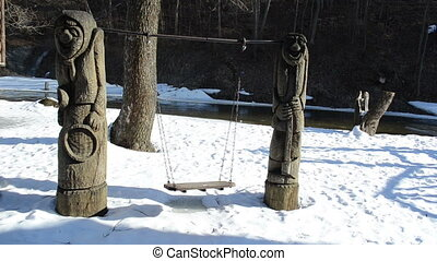 swing carved river winter - carved wooden rural craft design...