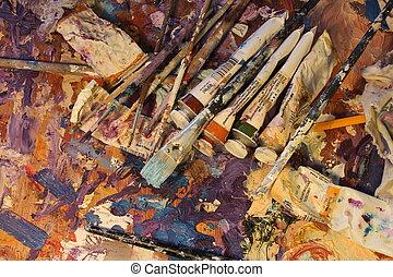 brushes, paints, palette, oil paint