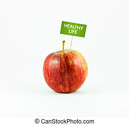 Healhty Life - A red Apple isolated on white background with...