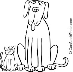 cat and dog cartoon for coloring book - Black and White...