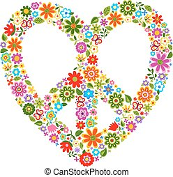 heat peace floral pattern symbol