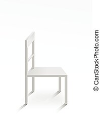 White chair on white background