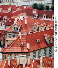 Prague old city roofs view