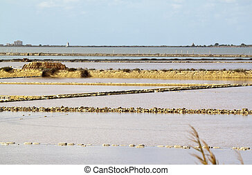 Saltern ter - Marsala saltern with Isola Lunga at the...