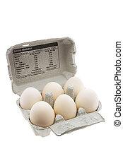 White Eggs on Egg Carton on White Background